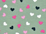 Jersey Herzen, helles khaki