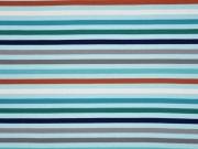 RESTSTÜCK 28 cm Jersey Streifen, terracotta dunkelblau mint