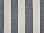 Dekostoff Blockstreifen 5 cm anthrazit natur