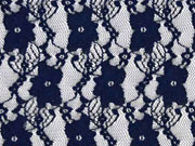 leicht elastische Spitze Blumen dunkelblau