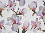 Blusenstoff Digitaldruck Magnolien, weiss