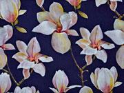Blusenstoff Digitaldruck Magnolien, dunkelblau