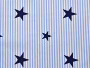 Baumwolle (Popelin) Deluxe Streifen Sternen hellblau