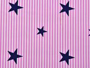 RESTSTÜCK 60 cm BW Popelin Deluxe Streifen Sternen, rosa