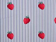 Baumwollestoff Streifen Erdbeeren,rot grau weiß