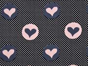 Baumwollstoff Punkte und Herzen, altrosa grau