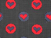 Baumwollstoff Punkte und Herzen, rot grau