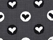 Baumwollstoff Punkte und Herzen,  weiss schwarz
