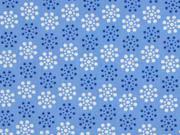 Baumwollstoff Blumenrädchen, jeansblau blau