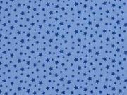 RESTSTÜCK 30 cm Baumwollstoff Sternchen, jeansblau blau