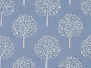 Reststück 66cm Batist Bäume Trees, hellblau