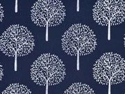 Baumwollstoff Batist Bäume Trees, dunkelblau