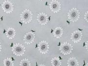 Baumwollstoff Batist kleine Sonnenblumen, grau