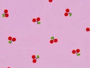 Baumwollstoff Batist Kirschen, rosa