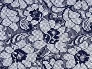 Spitze Blumen Meterware, dunkelblau hellgrau