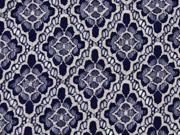 Spitze Rauten Blumen Meterware , dunkelblau ecrue