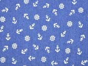 Jeansstoff Stretch Anker Steuerrad, weiß jeansblau