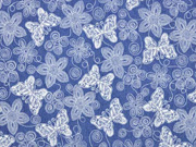 Elastischer Jeansstoff Schmetterlinge Blumen, jeansblau