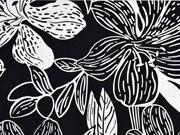 Viskose Leinen große Blumen & Ranken, schwarz