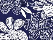 RESTSTÜCK 75 cm Viskose Leinen große Blumen & Ranken, dunkelblau