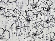 Viskose Leinen Hibiskus Blumen, creme schwarz