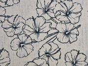 Viskose Leinen Hibiskus Blumen, , taupe schwarz