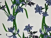 Viskose Leinen Blumen, grün grau auf weiss