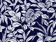 Viskosejersey Blätter, dunkelblau