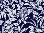 RESTSTÜCK 113 cm Viskosejersey Blätter, dunkelblau