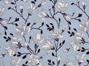 Viskosejersey Blumen und Ranken, hellblau