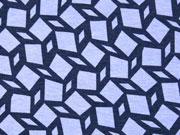 RESTSTÜCK 123 cm Viskosejersey Rauten grafisches Muster,dunkelblau