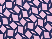 Viskosejersey Rauten grafisches Muster, rosa