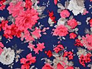 Viskosejersey Blumen, dunkelblau