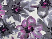 Viskosejersey Blumen, grau ecrue meliert