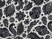 RESTSTÜCK 98 cm Viskosejersey Paisley, beige melange schwarz