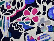 Viskosejersey Retroblumen, pink blau