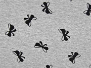 Viskosejersey Schleifen, schwarz grau melange
