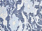 Jacquard Jersey Hahnentritt Blumen, ecrue hellblau