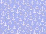 Baumwollstoff kleine Anker, hellblau