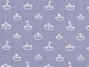 Baumwolle Papierschiffchen Segelboote, grau