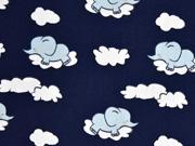 RESTSTÜCK 44 CM Baumwolle Elefanten Wolken, dunkelblau