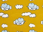RESTSTÜCK 43 cm Baumwolle Elefanten Wolken, ocker