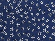 Baumwollstoff kleine Sterne als Kontur, weiß dunkelblau