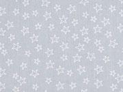Baumwollstoff kleine Sterne als Kontur, weiß hellgrau