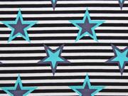 Baumwolle Streifen und Sterne, aquamarin