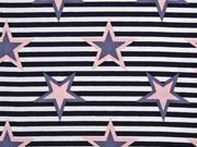 Baumwolle Streifen und Sterne, rosa