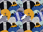 French Terry Autos Berge, blau mint ocker
