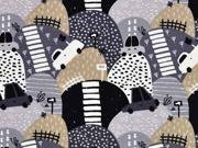 Sweatstoff French Terry Autos Berge, grau schwarz beige