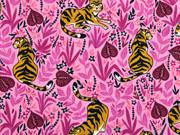 Jerseystoff Tiger Blätter Blumen, rosa