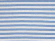 Jersey Streifen 1 cm garngefärbt, hellblau weiss